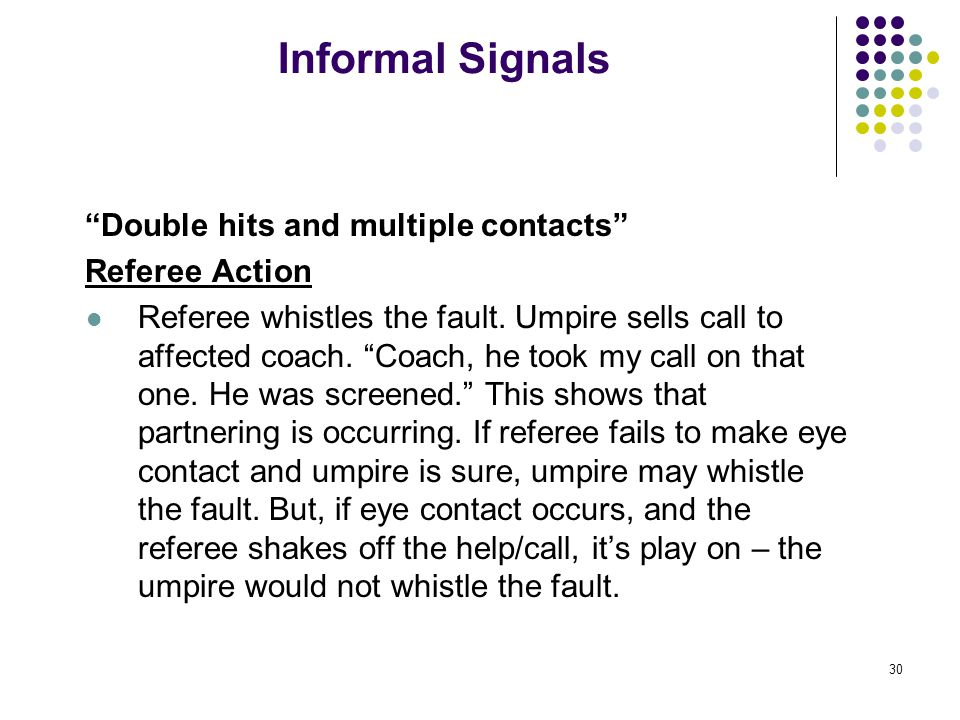 30 Informal Signals Double hits and multiple contacts Referee Action Referee whistles the fault.
