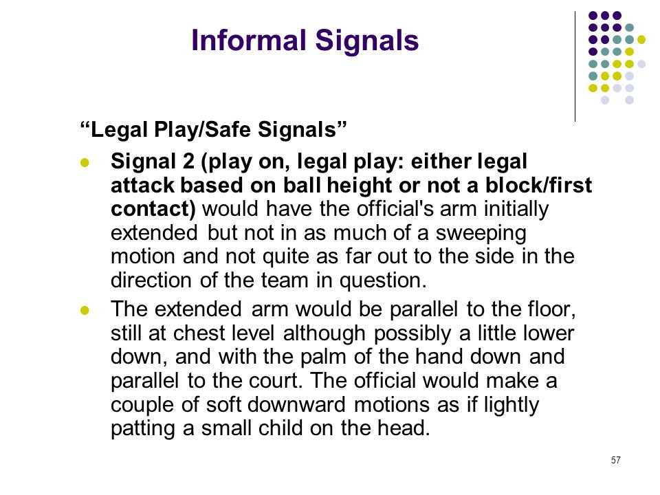 57 Informal Signals Legal Play/Safe Signals Signal 2 (play on, legal play: either legal attack based on ball height or not a block/first contact) would have the official s arm initially extended but not in as much of a sweeping motion and not quite as far out to the side in the direction of the team in question.