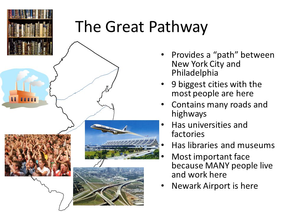 """The Great Pathway Provides a """"path"""" between New York City and Philadelphia 9 biggest cities with the most people are here Contains many roads and high"""