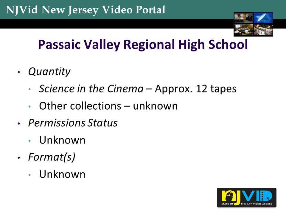 NJVid New Jersey Video Portal 15 Passaic Valley Regional High School Quantity Science in the Cinema – Approx.
