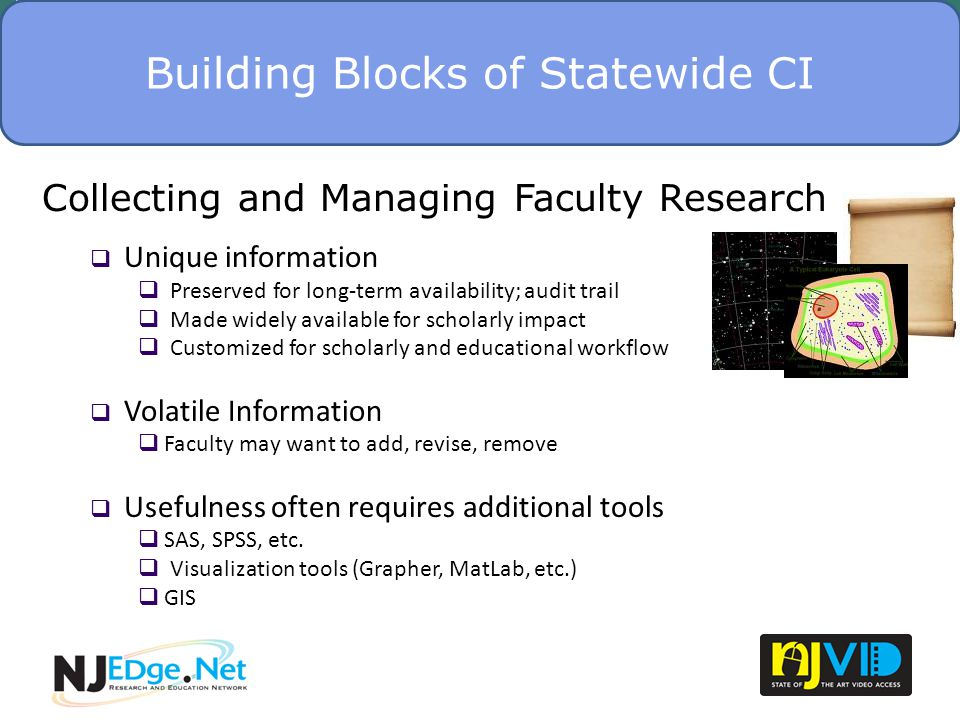 NJViD Presentation – Internet2 FMM - November 2, 2010 NJViD Commons 19 We have about 104 videos in the Commons American Labor Museum Bergen Community College Berkeley College Hope Historical Society Montclair State University NJEDge Annual Faculty Showcase Videos Newark Public Schools Passaic Valley High School Women and Youth Leadership Alliance (WAYLA) William Paterson University of New Jersey