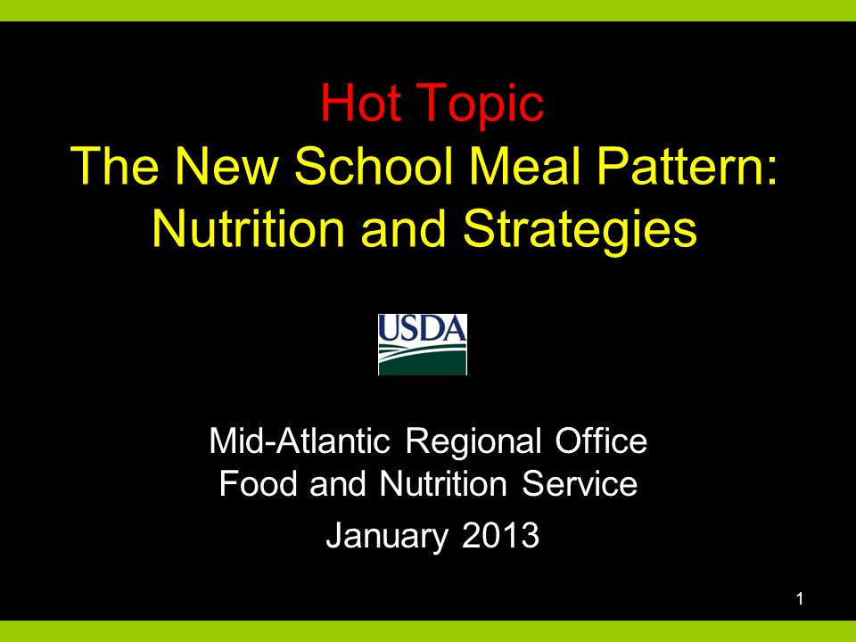 Hot Topic The New School Meal Pattern: Nutrition and Strategies Mid-Atlantic Regional Office Food and Nutrition Service January 2013 1