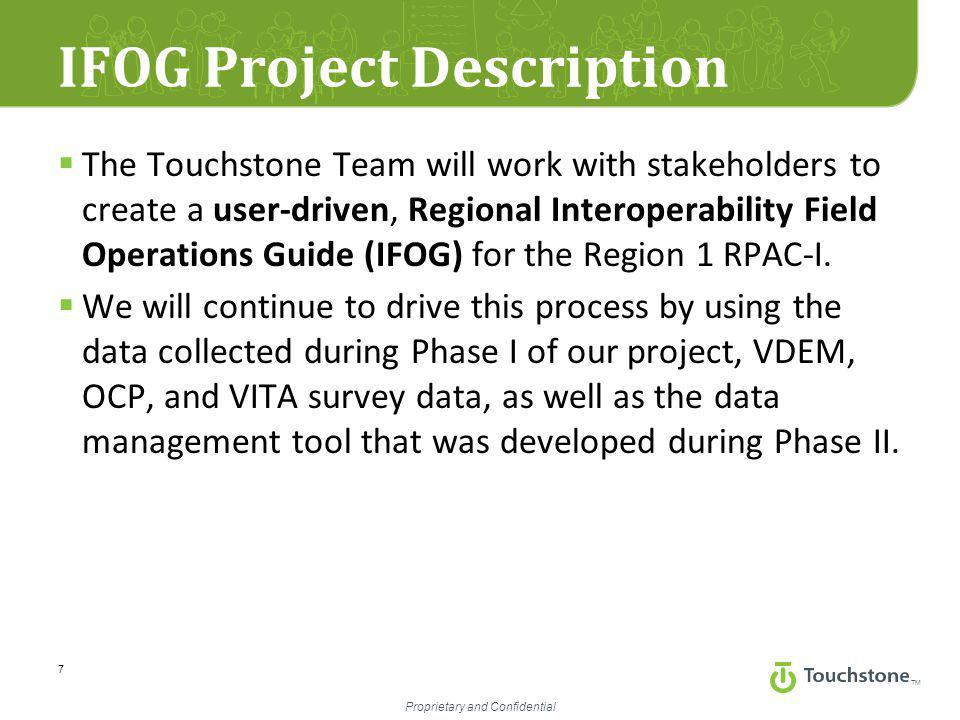 TM Proprietary and Confidential IFOG Project Description  The Touchstone Team will work with stakeholders to create a user-driven, Regional Interoperability Field Operations Guide (IFOG) for the Region 1 RPAC-I.