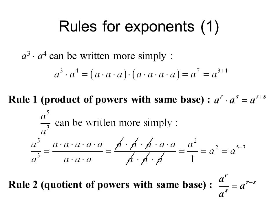 Rules for exponents (1) a 3  a 4 can be written more simply : Rule 1 (product of powers with same base) : Rule 2 (quotient of powers with same base) :