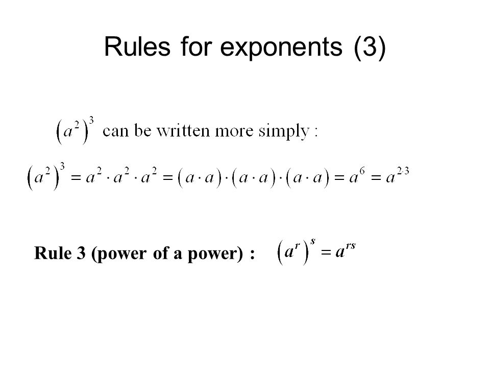 Rules for exponents (3) Rule 3 (power of a power) :