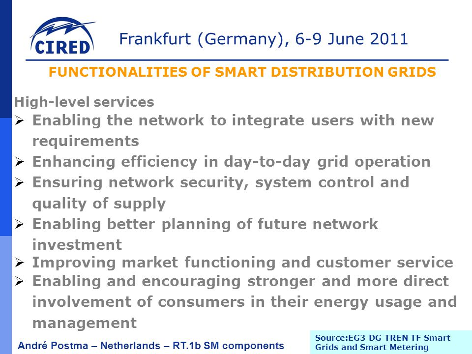 Frankfurt (Germany), 6-9 June 2011 André Postma – Netherlands – RT.1b SM components High-level services  Enabling the network to integrate users with new requirements  Enhancing efficiency in day-to-day grid operation  Ensuring network security, system control and quality of supply  Enabling better planning of future network investment  Improving market functioning and customer service  Enabling and encouraging stronger and more direct involvement of consumers in their energy usage and management FUNCTIONALITIES OF SMART DISTRIBUTION GRIDS Source:EG3 DG TREN TF Smart Grids and Smart Metering