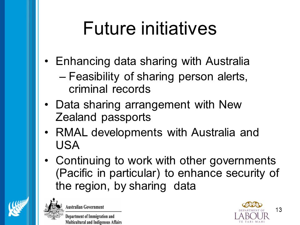 13 Future initiatives Enhancing data sharing with Australia –Feasibility of sharing person alerts, criminal records Data sharing arrangement with New Zealand passports RMAL developments with Australia and USA Continuing to work with other governments (Pacific in particular) to enhance security of the region, by sharing data