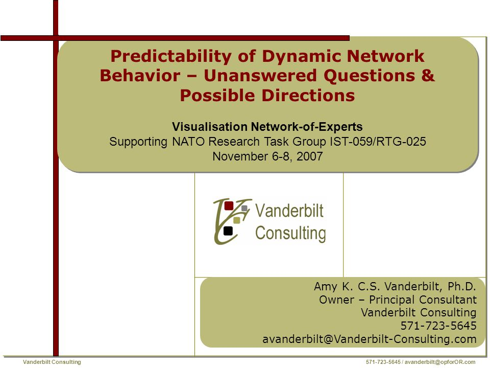 Vanderbilt Consulting 571-723-5645 / avanderbilt@opforOR.com Predictability of Dynamic Network Behavior BACKGROUND  Predicting the behavior of various types of networks to various influence factors is a hot topic  BUT is it is not moving forward with the speed expected  WHY?.