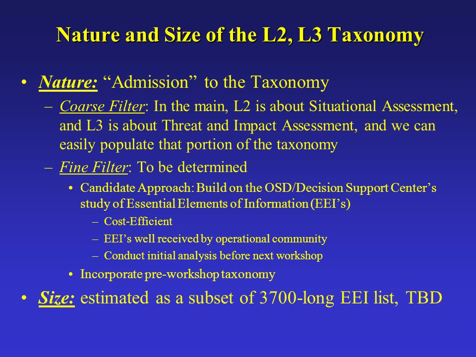 """Nature and Size of the L2, L3 Taxonomy Nature: """"Admission"""" to the Taxonomy –Coarse Filter: In the main, L2 is about Situational Assessment, and L3 is"""