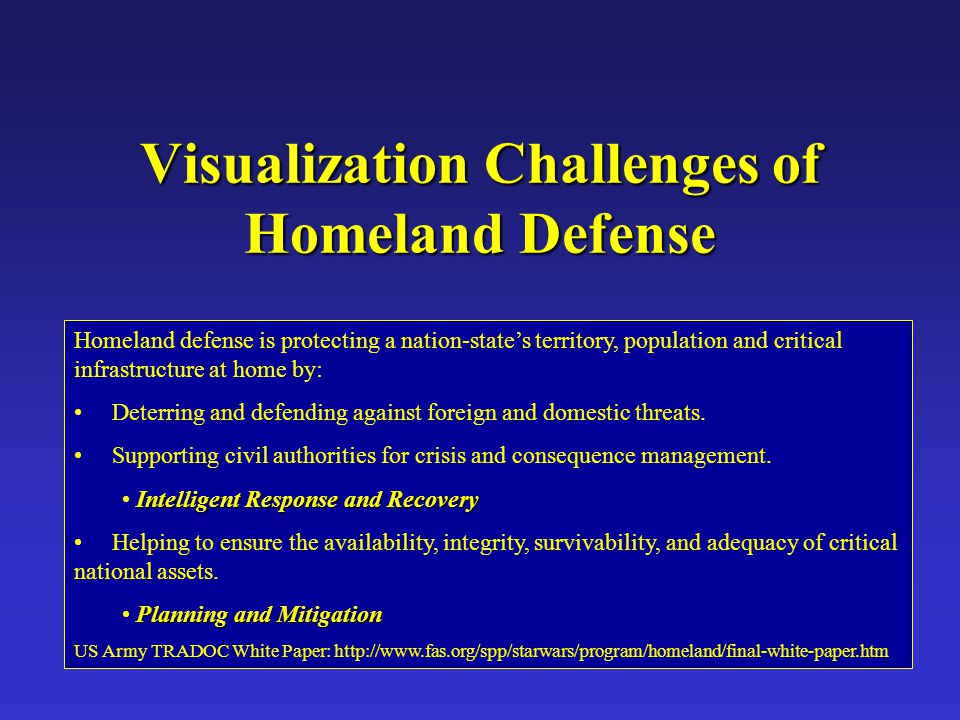 Visualization Challenges of Homeland Defense Homeland defense is protecting a nation-state's territory, population and critical infrastructure at home