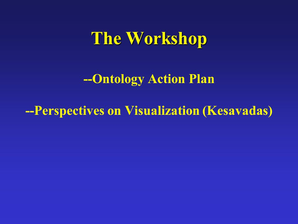 The Workshop The Workshop --Ontology Action Plan --Perspectives on Visualization (Kesavadas)