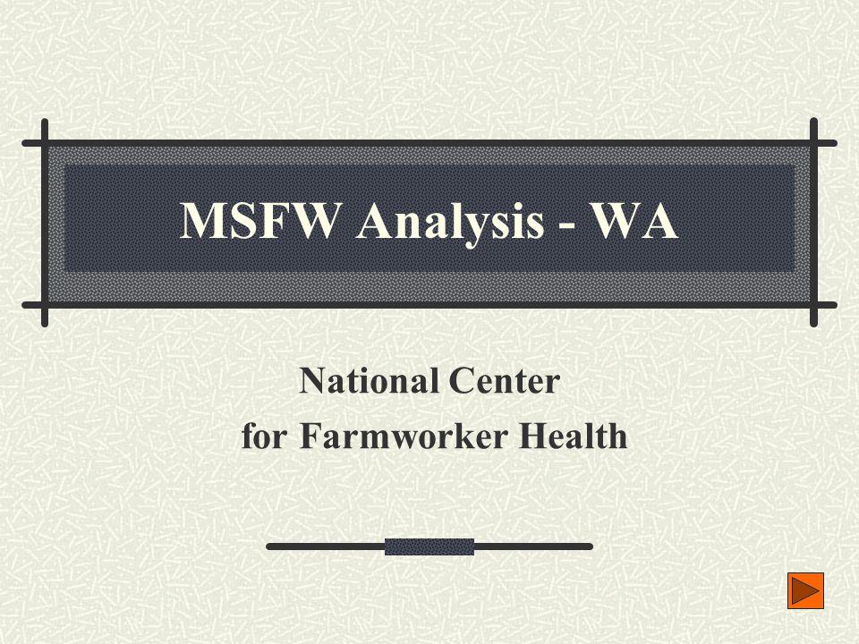 MSFW Population > 2,000 4,904 6,458 15,190 26,382 13,323 44,769 2,043 2,210 3,215 9,454 34,554 81,175 2,523 4,582 24,503 Data source: MSFW Enumeration Profiles Study – WA, Larson, 9/2000 MSFW Analysis - WA