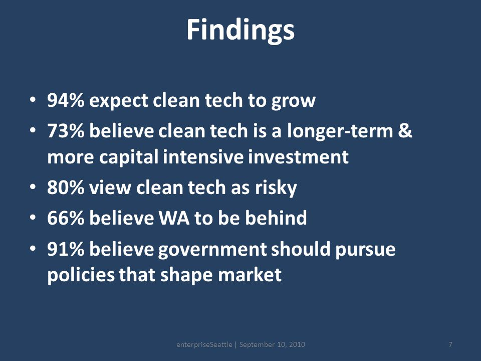 Findings 94% expect clean tech to grow 73% believe clean tech is a longer-term & more capital intensive investment 80% view clean tech as risky 66% believe WA to be behind 91% believe government should pursue policies that shape market 7enterpriseSeattle | September 10, 2010