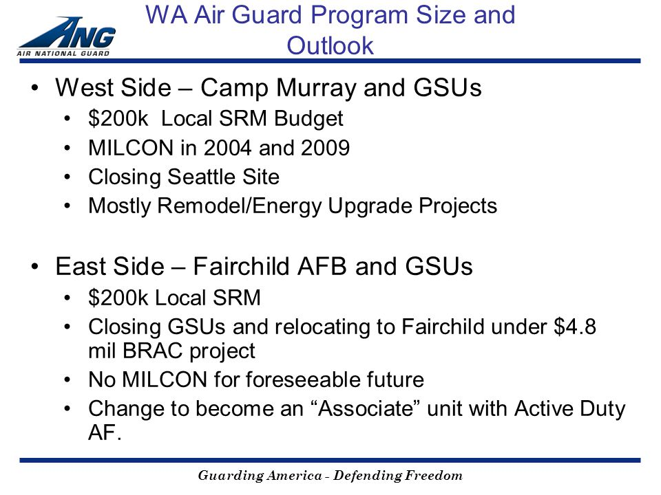 Guarding America - Defending Freedom WA Air Guard Program Size and Outlook West Side – Camp Murray and GSUs $200k Local SRM Budget MILCON in 2004 and 2009 Closing Seattle Site Mostly Remodel/Energy Upgrade Projects East Side – Fairchild AFB and GSUs $200k Local SRM Closing GSUs and relocating to Fairchild under $4.8 mil BRAC project No MILCON for foreseeable future Change to become an Associate unit with Active Duty AF.