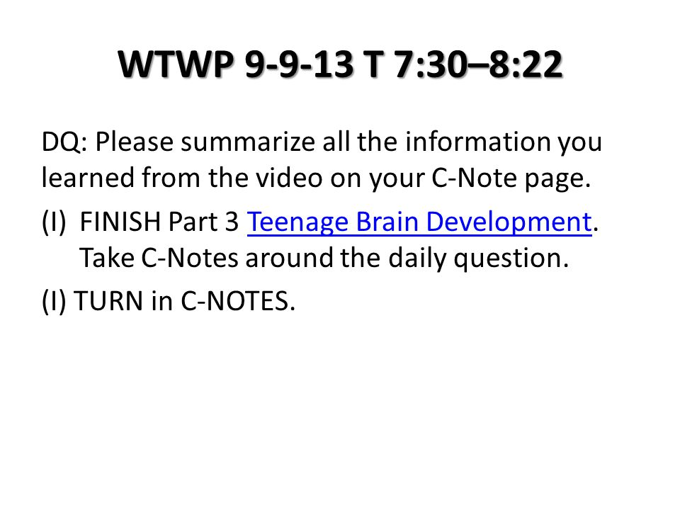 WHWP 12-4-13 T 7:30–8:22 Presentation Project this project will be worth 100 Points and graded on a 5 Pt scale, per usual.