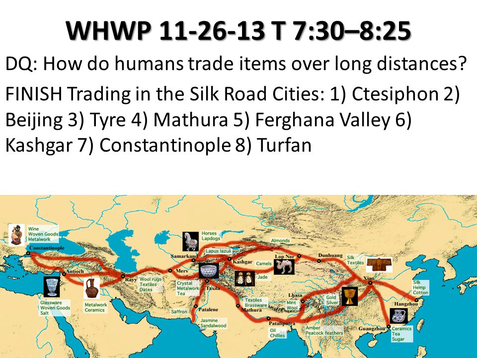 WHWP 11-26-13 T 7:30–8:25 DQ: How do humans trade items over long distances? FINISH Trading in the Silk Road Cities: 1) Ctesiphon 2) Beijing 3) Tyre 4