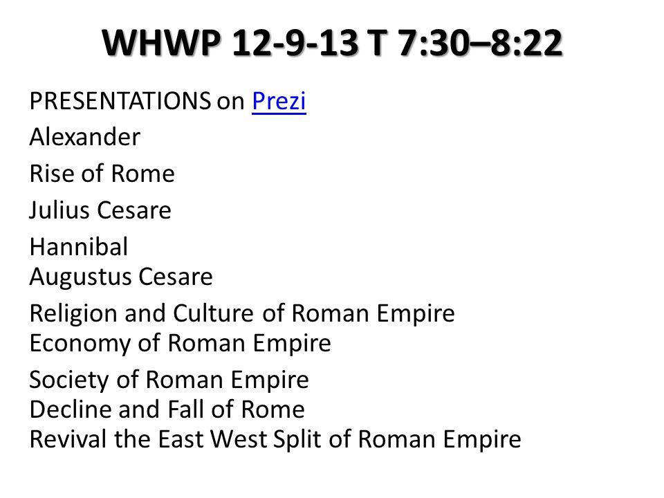 WHWP 12-9-13 T 7:30–8:22 PRESENTATIONS on PreziPrezi Alexander Rise of Rome Julius Cesare Hannibal Augustus Cesare Religion and Culture of Roman Empir