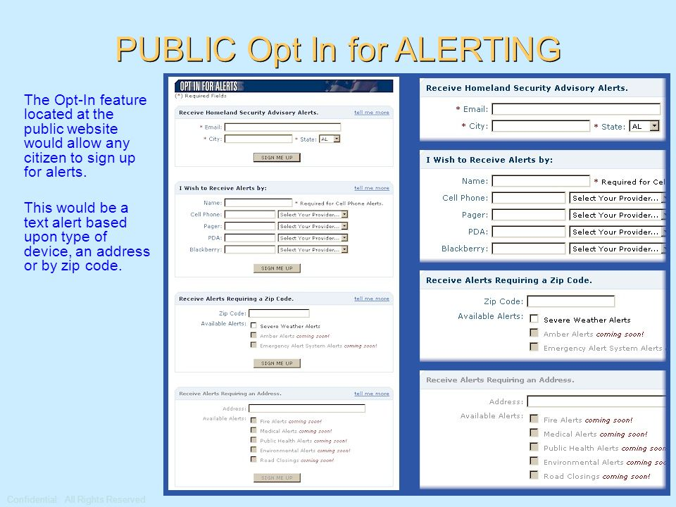 Confidential: All Rights Reserved Alert Posted to Secure and Public Websites Alerts can be posted on both a secure website (internal) or a public site (external) for viewing from any internet access point.