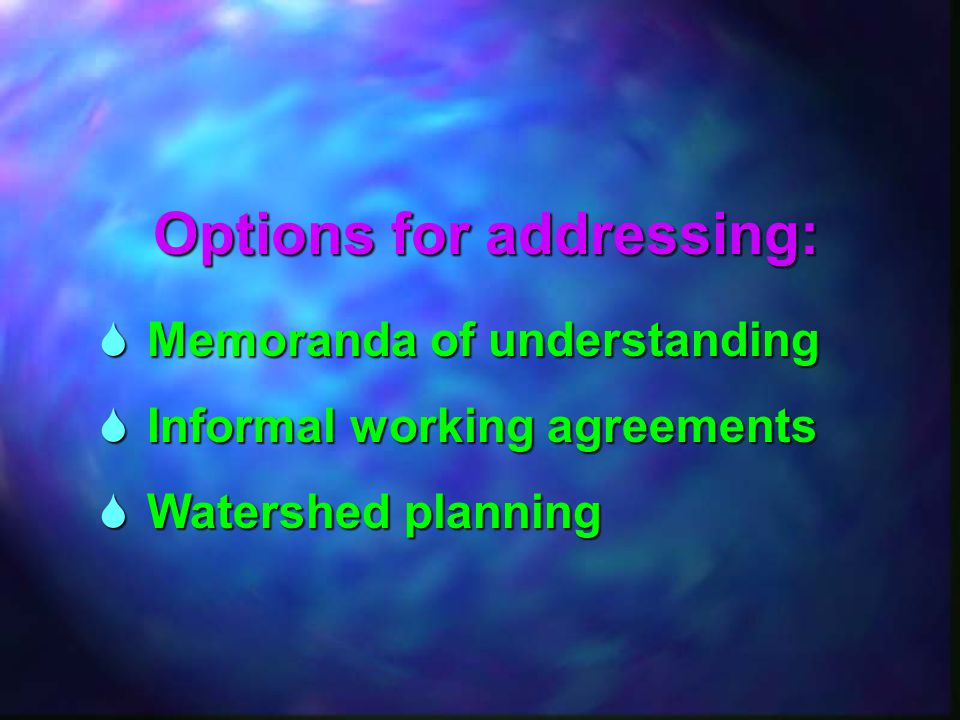  Memoranda of understanding  Informal working agreements  Watershed planning Options for addressing: