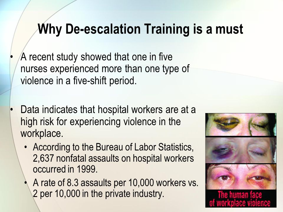 Why De-escalation Training is a must A recent study showed that one in five nurses experienced more than one type of violence in a five-shift period.