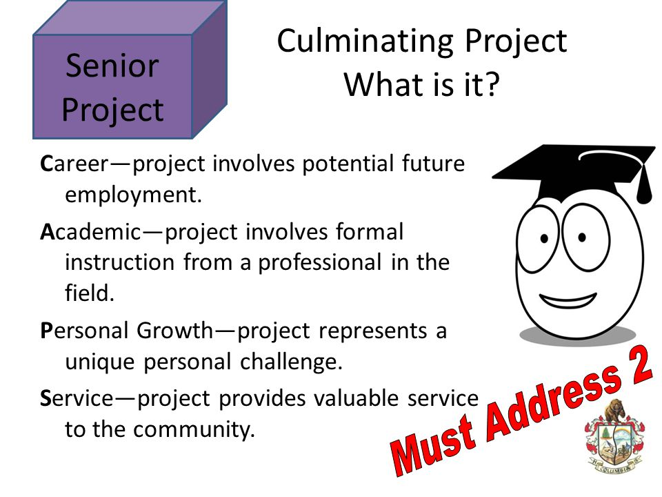 Senior Project Career—project involves potential future employment. Academic—project involves formal instruction from a professional in the field. Per