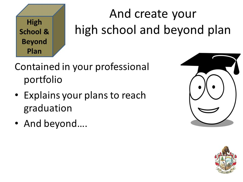And create your high school and beyond plan Contained in your professional portfolio Explains your plans to reach graduation And beyond…. High School