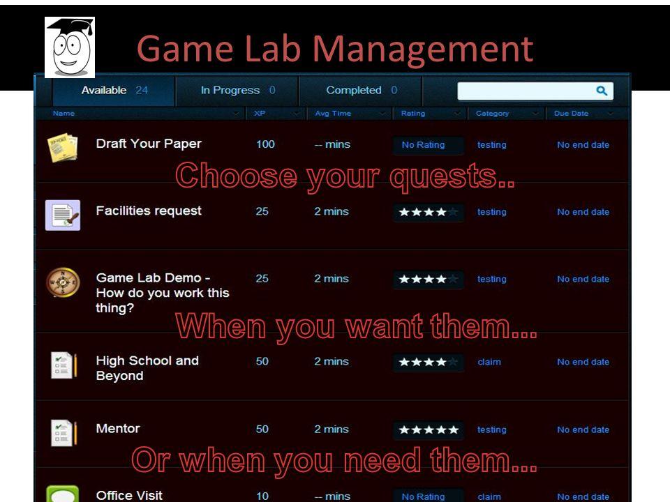 Game Lab Management
