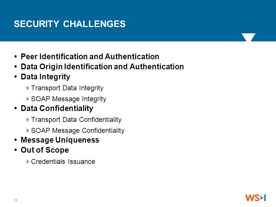 13 SECURITY CHALLENGES  Peer Identification and Authentication  Data Origin Identification and Authentication  Data Integrity  Transport Data Inte