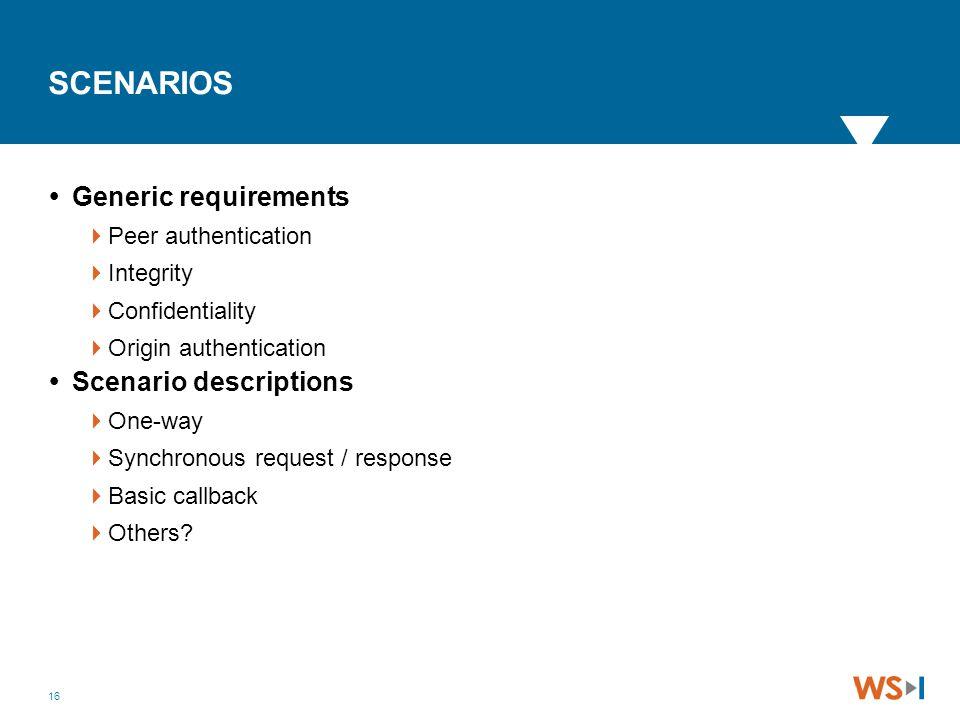 16 SCENARIOS  Generic requirements  Peer authentication  Integrity  Confidentiality  Origin authentication  Scenario descriptions  One-way  Sy