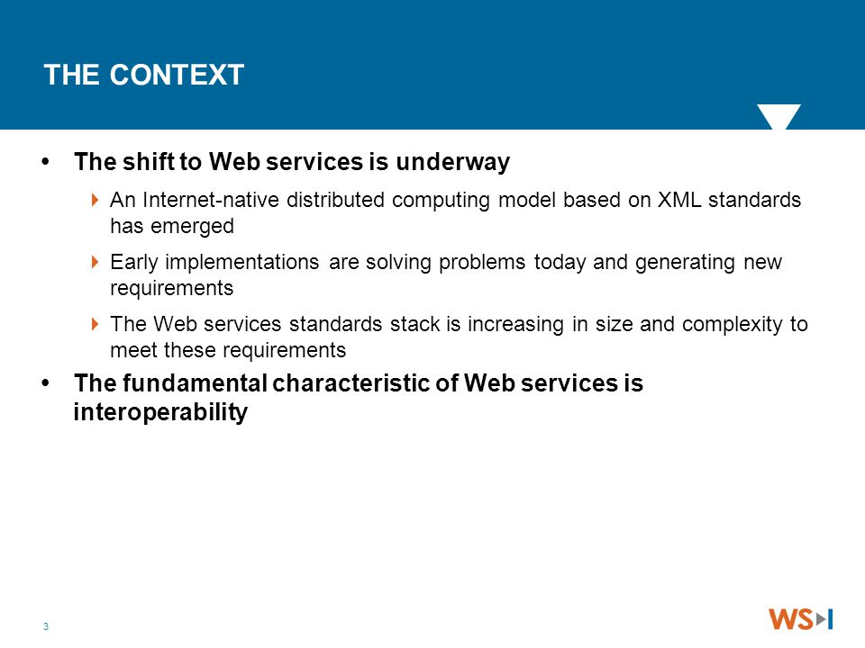 3 THE CONTEXT  The shift to Web services is underway  An Internet-native distributed computing model based on XML standards has emerged  Early impl