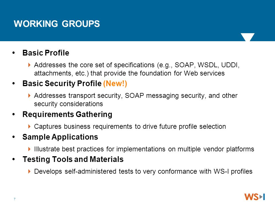7 WORKING GROUPS  Basic Profile  Addresses the core set of specifications (e.g., SOAP, WSDL, UDDI, attachments, etc.) that provide the foundation fo