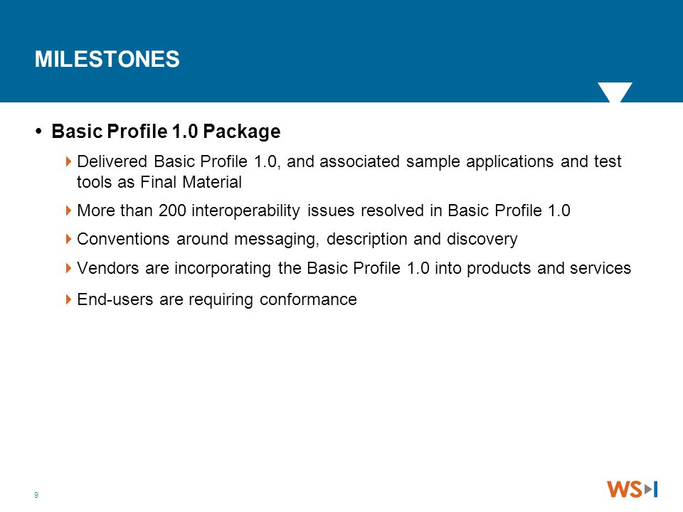 9 MILESTONES  Basic Profile 1.0 Package  Delivered Basic Profile 1.0, and associated sample applications and test tools as Final Material  More tha