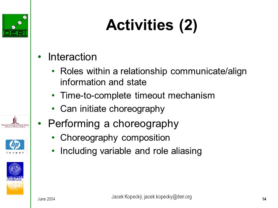 June 200414 Jacek Kopecký, jacek.kopecky@deri.org Activities (2) Interaction Roles within a relationship communicate/align information and state Time-
