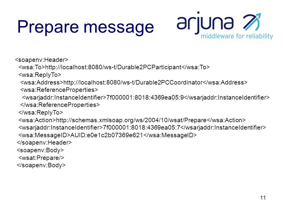 11 Prepare message http://localhost:8080/ws-t/Durable2PCParticipant http://localhost:8080/ws-t/Durable2PCCoordinator 7f000001:8018:4369ea05:9 http://schemas.xmlsoap.org/ws/2004/10/wsat/Prepare 7f000001:8018:4369ea05:7 AUID:e0e1c2b07369e621