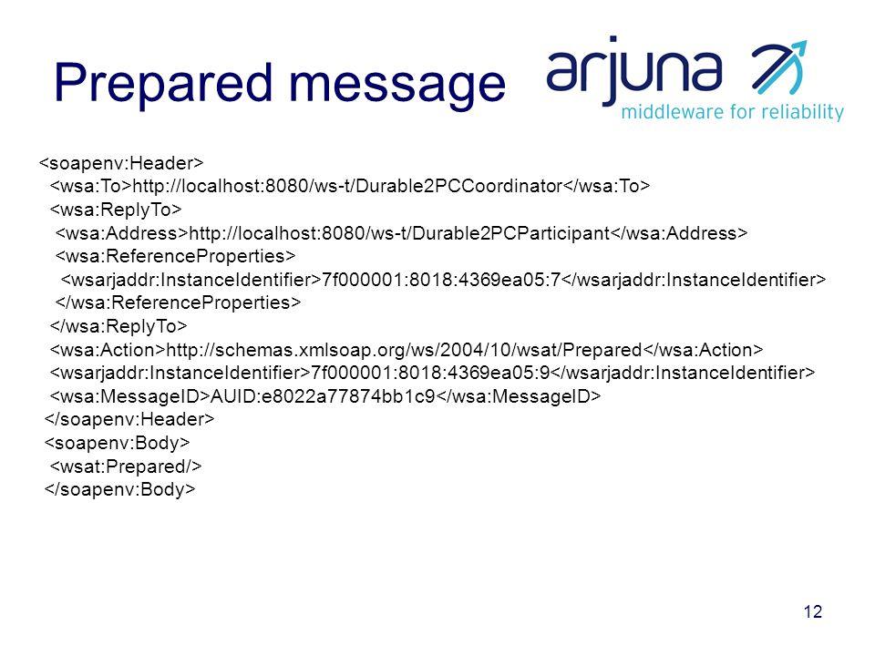 12 Prepared message http://localhost:8080/ws-t/Durable2PCCoordinator http://localhost:8080/ws-t/Durable2PCParticipant 7f000001:8018:4369ea05:7 http://schemas.xmlsoap.org/ws/2004/10/wsat/Prepared 7f000001:8018:4369ea05:9 AUID:e8022a77874bb1c9
