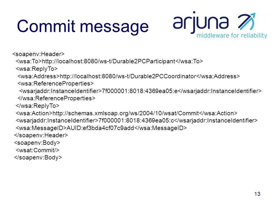 13 Commit message http://localhost:8080/ws-t/Durable2PCParticipant http://localhost:8080/ws-t/Durable2PCCoordinator 7f000001:8018:4369ea05:e http://schemas.xmlsoap.org/ws/2004/10/wsat/Commit 7f000001:8018:4369ea05:c AUID:ef3bda4cf07c9add