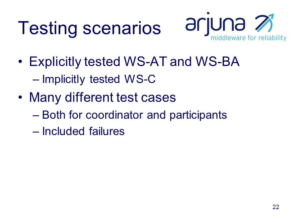 22 Testing scenarios Explicitly tested WS-AT and WS-BA –Implicitly tested WS-C Many different test cases –Both for coordinator and participants –Inclu