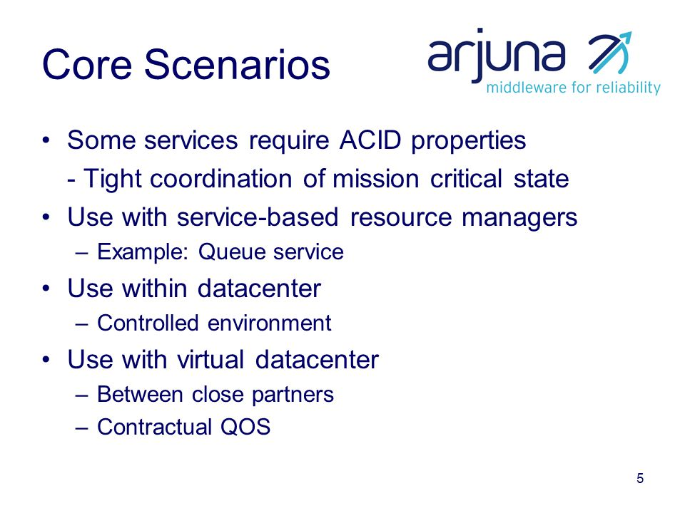5 Core Scenarios Some services require ACID properties - Tight coordination of mission critical state Use with service-based resource managers –Example: Queue service Use within datacenter –Controlled environment Use with virtual datacenter –Between close partners –Contractual QOS