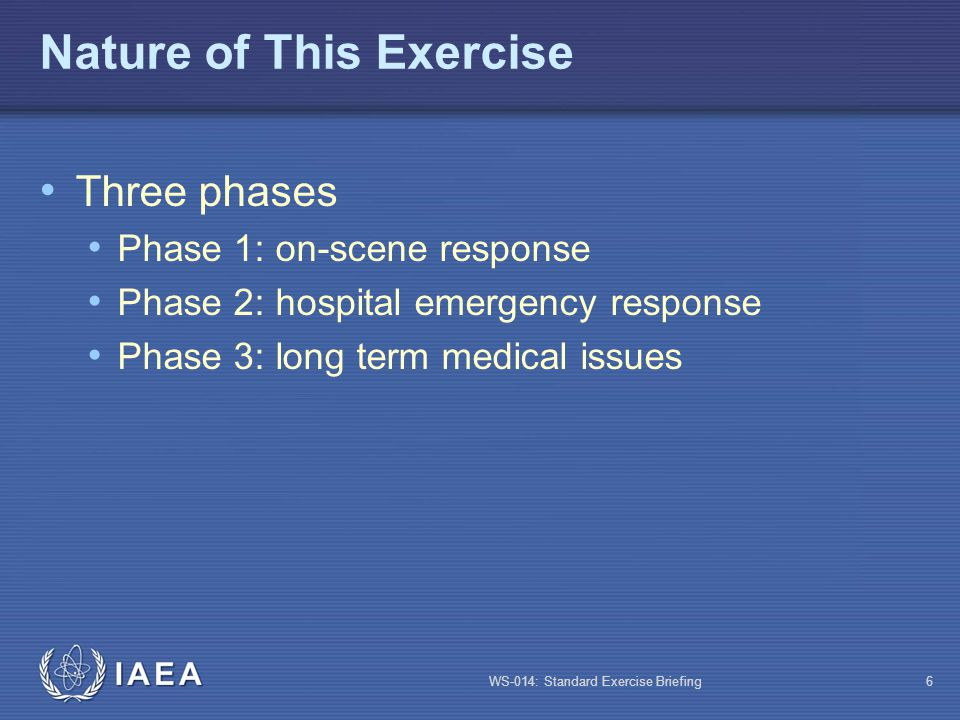 WS-014: Standard Exercise Briefing7 Exercise Specifications Objectives (see manual) Participation (see manual) Constraints (see manual) Our exercise will be limited to phases 1 and 2, conducted in sequence