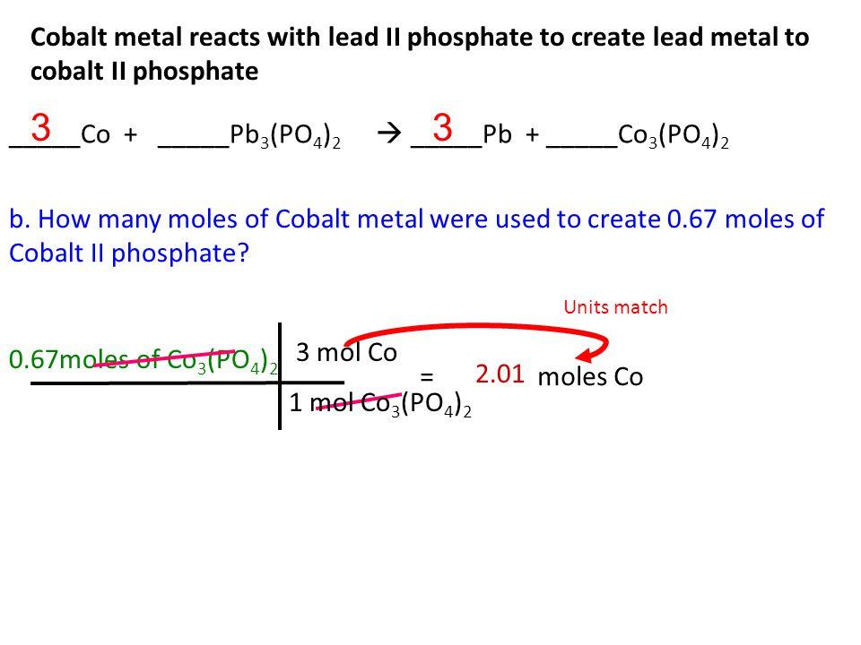 Cobalt metal reacts with lead II phosphate to create lead metal to cobalt II phosphate a.
