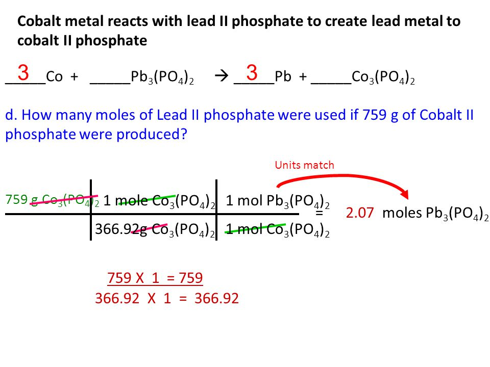 Cobalt metal reacts with lead II phosphate to create lead metal to cobalt II phosphate c. How many moles of Lead were produced if 45.8g of Cobalt were