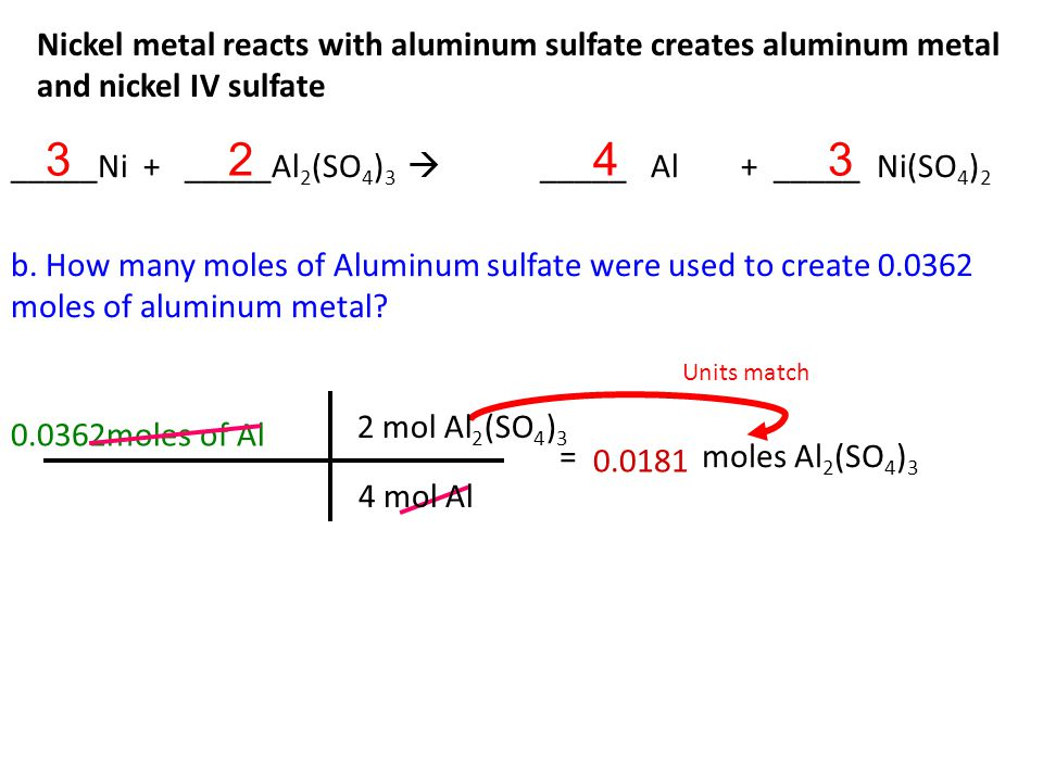 Nickel metal reacts with aluminum sulfate creates aluminum metal and nickel IV sulfate a.
