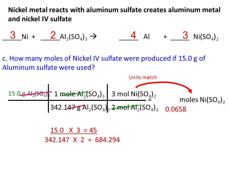 Nickel metal reacts with aluminum sulfate creates aluminum metal and nickel IV sulfate b.