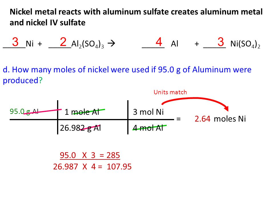 Nickel metal reacts with aluminum sulfate creates aluminum metal and nickel IV sulfate c.