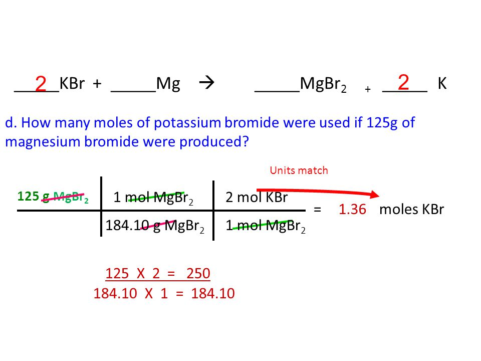 c. How many moles of magnesium bromide were produced if 65.5g of magnesium were used.
