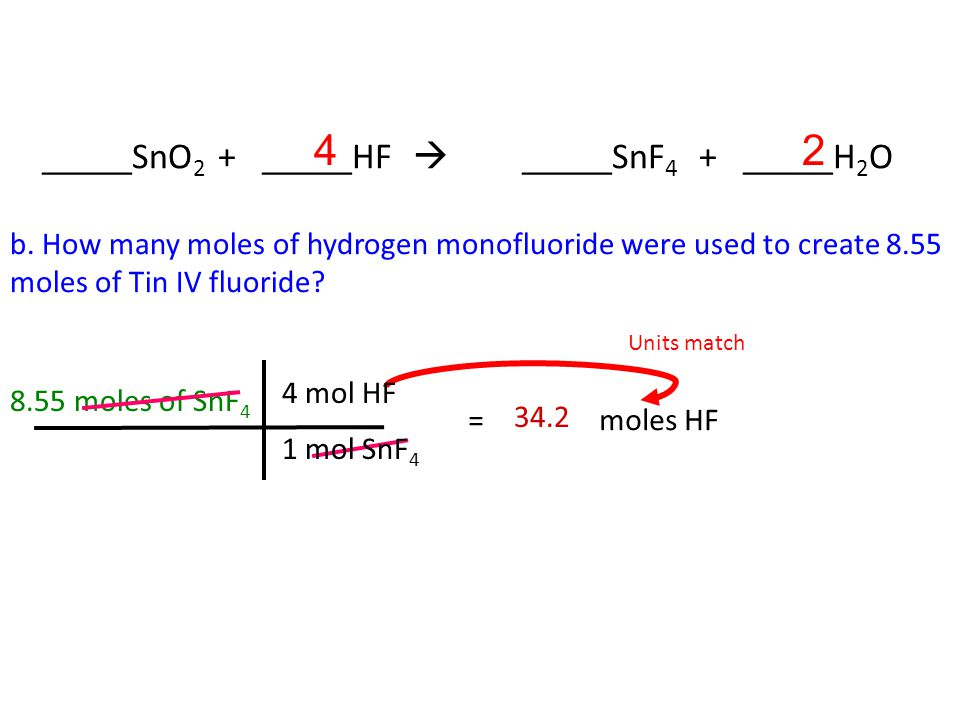 2. Tin IV oxide reacts with hydrogen monofluoride to create Tin IV fluoride and water a.