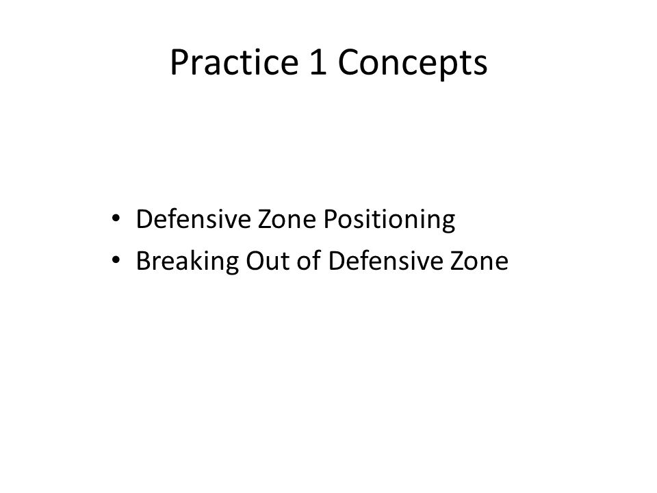 Practice 1 Concepts Defensive Zone Positioning Breaking Out of Defensive Zone