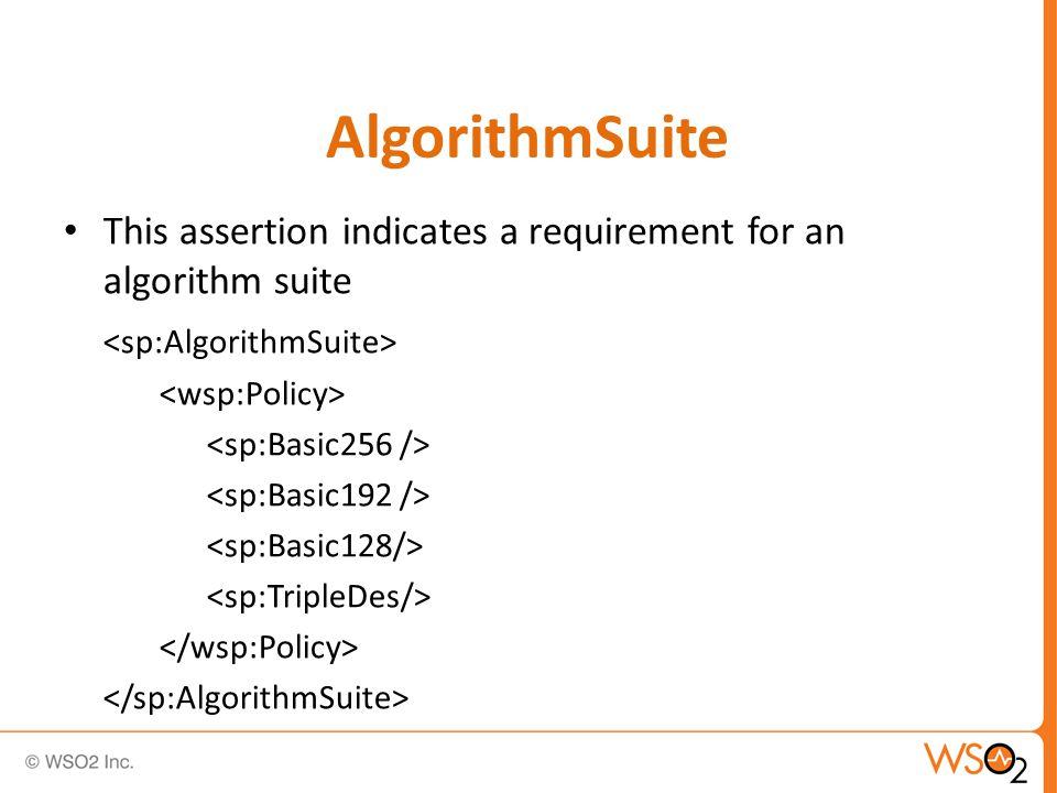 AlgorithmSuite This assertion indicates a requirement for an algorithm suite