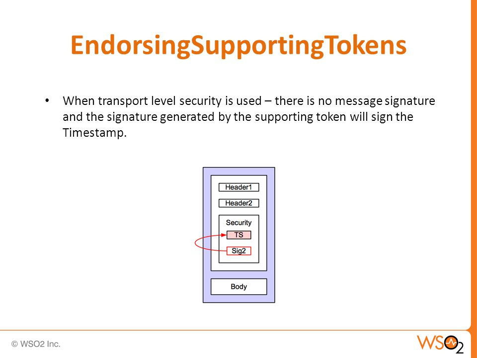EndorsingSupportingTokens When transport level security is used – there is no message signature and the signature generated by the supporting token will sign the Timestamp.