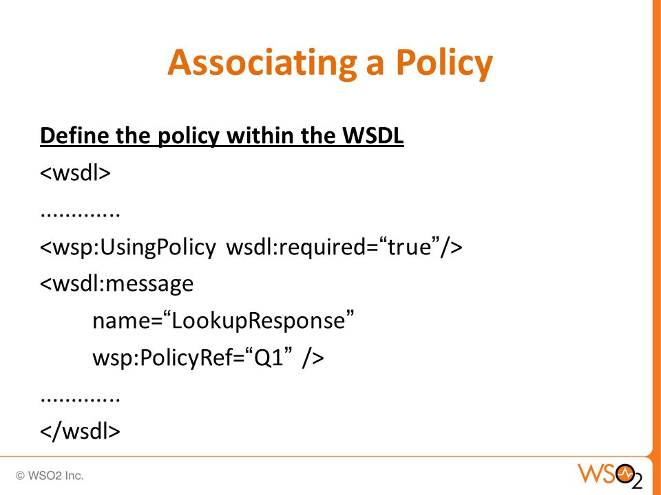Associating a Policy Define the policy within the WSDL.............